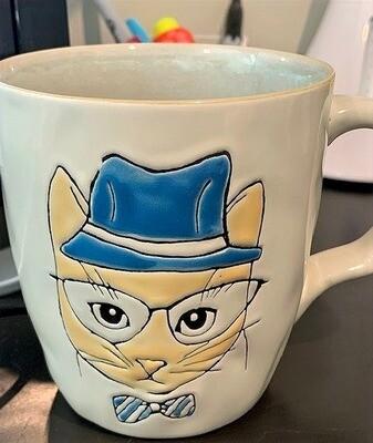 Cat in Blue Fedora & Bowtie Ceramic Mug