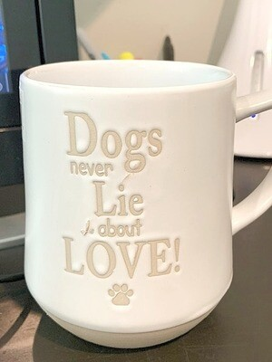 'Dogs Never Lie About Love' Stoneware Embossed Mug