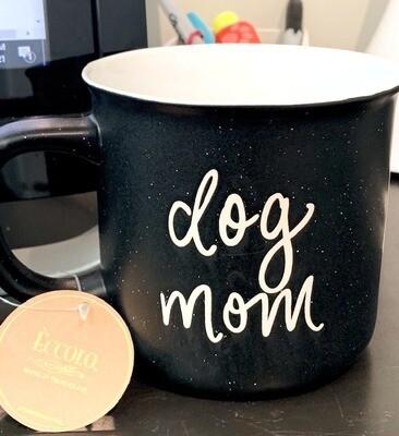 'Dog Mom' Black Speckled Campfire Mug