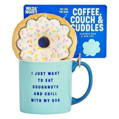 Coffee Mug & Dog Toy Set: 'Coffee, Couch, Cuddles'
