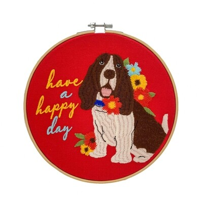 'Have a Happy Day' Embroidered Hoop Sign