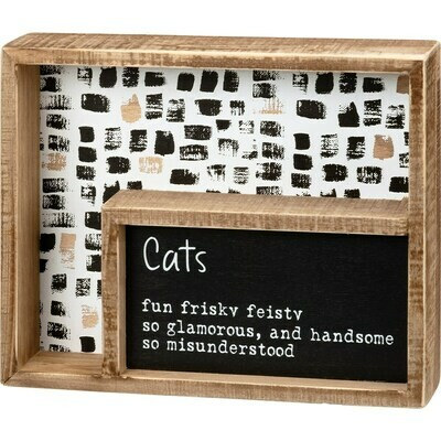 Inset Box Sign: Cats Fun, Frisky, Feisty
