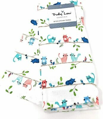 Set of 2 Kitchen Towels: Colorful Cats & Birds