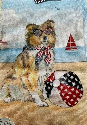 Set of 2 Kitchen Towels: Patriotic Dog at the Beach