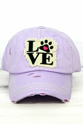 'Paw Love' Distressed Baseball Cap