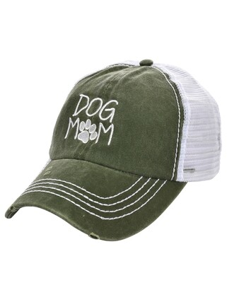 'Dog Mom' Vintage Mesh Baseball Cap (2 colors)