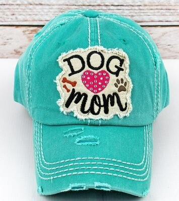 'Dog Mom' Rhinestone Embroidered Baseball Cap (2 colors!)