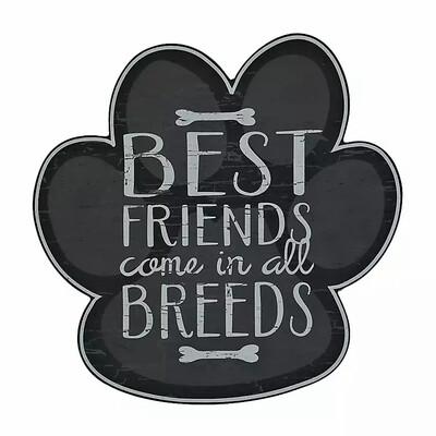 'Best Friends in All Breeds' Paw-Shaped Wood Wall Art