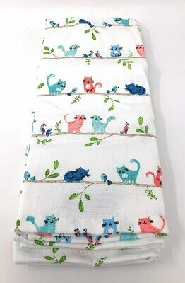'Colorful Cats & Birds on Branches' Set of 2 Kitchen Towels