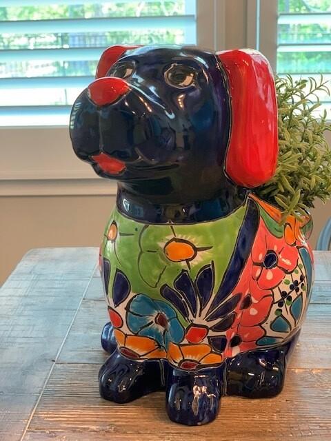 Talavera Pottery Sitting Dog Planter