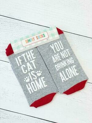 Simply Southern Non-Slip Socks: 'Not Drinking Alone if the Cat is Home'