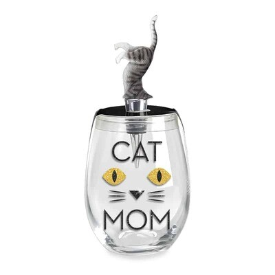 Cat Mom Stemless Wine Glass & Stopper