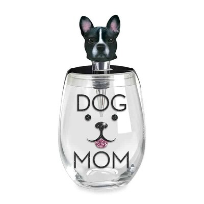 Dog Mom Stemless Wine Glass & Dog Stopper