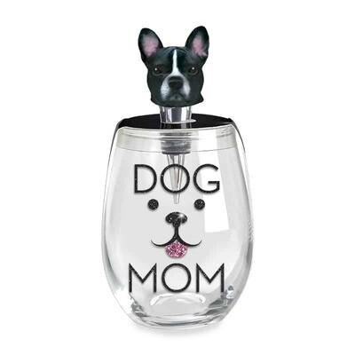 Dog Mom Stemless Wine Glass & Dog Stopper
