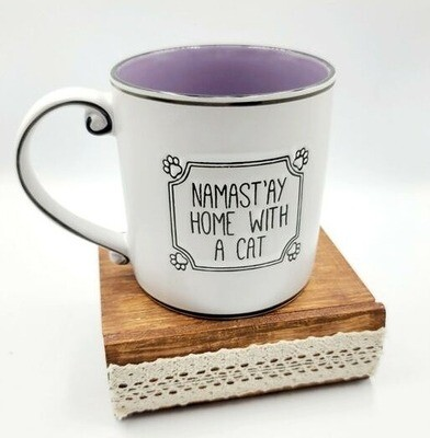 Namast'ay Home With A Cat Embossed Mug