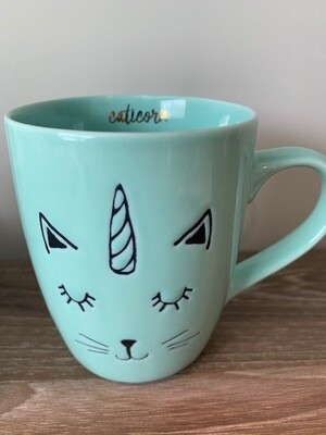 'Caticorn' Mint Green Embossed Mug