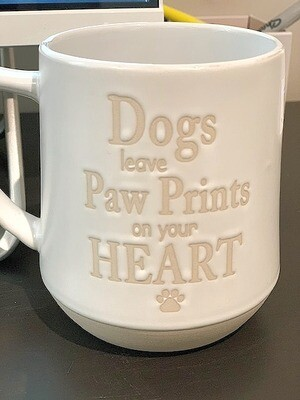 'Dogs Leave Pawprints on your Heart' Embossed Stoneware Mug