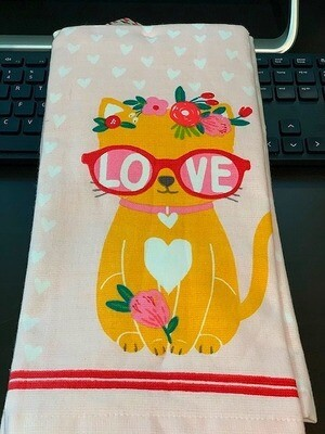 Set of 2 Cat in 'Love Sunglasses' & Floral Crown Kitchen Towels