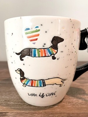 "Rainbow Dog Mug: ""Love is Love"""