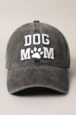 3D Puff Embroidery 'Dog Mom' Baseball Cap