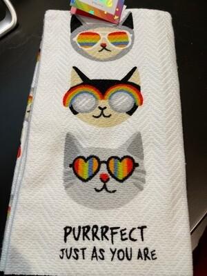 Set of 2 Cat Gay Pride Kitchen Towels