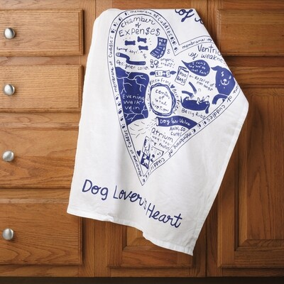 One-of-a-Kind Kitchen Towel: 'Anatomy of a Dog Lover's Heart'