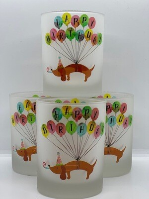 Frosted Glasses: Happy Birthday Balloons - Set of 4