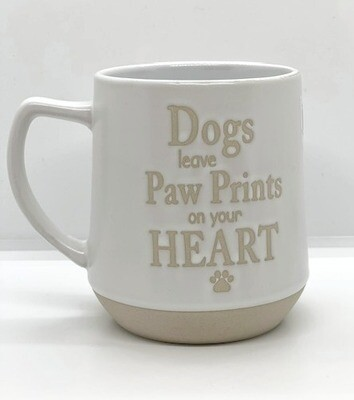 Embossed Stoneware Mug: 'Dogs Leave Paw Prints on your Heart'