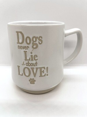 Stoneware Embossed Mug: 'Dogs Never Lie About Love'