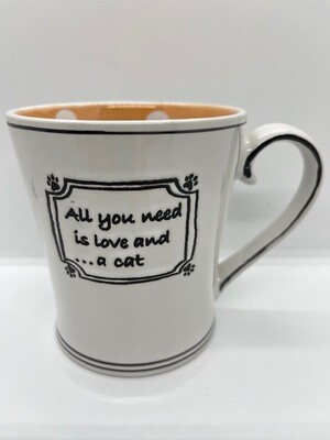 Polka Dots Mug: 'All You Need is Love and a Cat'