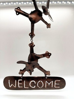 Hanging Metal Welcome Sign: Handcrafted Dancing Dogs