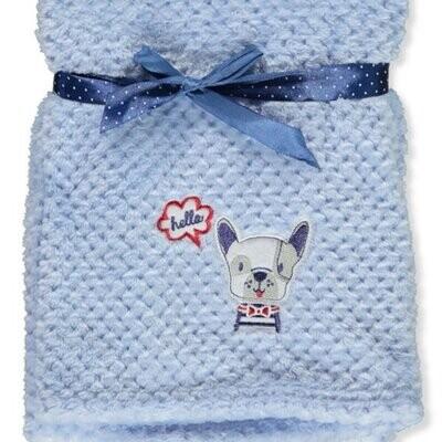 Plush Blue Baby Boy Blanket: Dog saying 'hello'