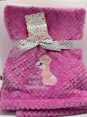 "Plush Pink Baby Blanket:  ""Born This Fabulous"""