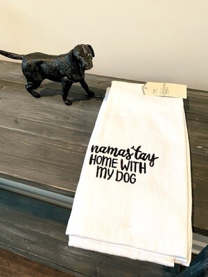 Set of 2 Kitchen Towels: 'Namas'tay Home With My Dog '