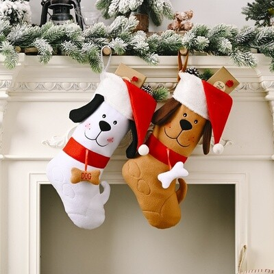 Cute Dog-Shaped Christmas Stocking (2 colors!)