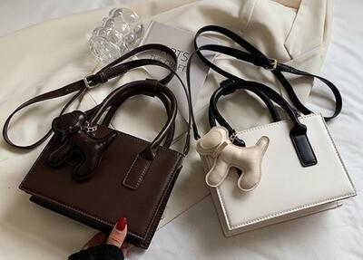 Satchel Bag w/Matching Dog Charm (2 colors)