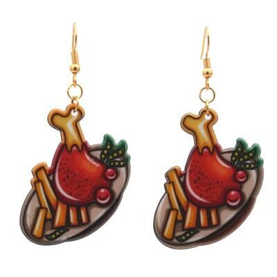 Holiday Dinner Acrylic Drop Earrings