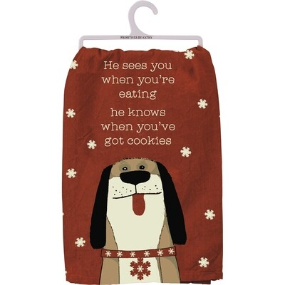 Rustic Christmas Dog Kitchen Towel: He Sees You When You're Eating...