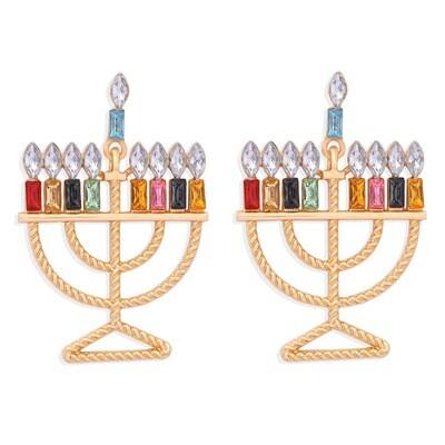 Menorah Colored Rhinestones Drop Earrings
