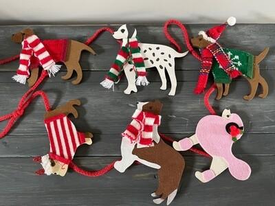 Christmas Dogs Wood Festive Holiday Garland