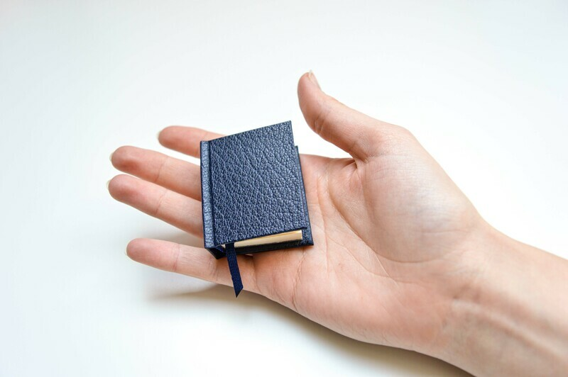 Miniature Books - Dark Blue Leather & Grey
