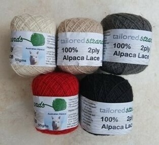 AUTUMN SPECIAL 2ply 100% Australian alpaca 75g - 25gx3 skeins with 5 colors available.  Luxuriously soft & durable - ideal for fine lacework.   Normally priced at $6.00/25g ($18/75g) Great price at