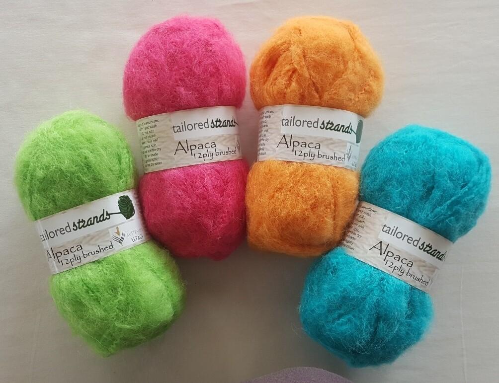 Brushed 12ply Brights 100% Australian alpaca yarn - apple green, cyclamen, mango, seachange(aqua).