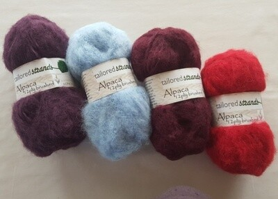 Brushed 12ply Traditional colours 100% Australian alpaca yarn - Bilberry, Sky Blue, Claret, Scarlet.