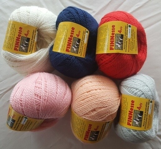 SPRING SPECIAL 4PLY AU$7.99 each, not $10.95.  4ply FINNESSE luxuriously soft rare finnsheep yarns, in six (6) colours. Normally AU$10.95/50g ball
