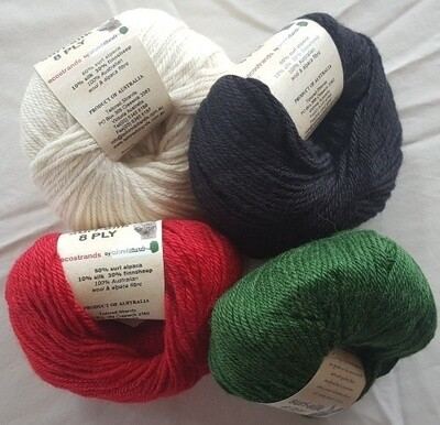 Special 8ply SURI SILK superb rare baby suri (alpaca), lustrous fine finnsheep, silk blend  - ivory, ebony, deep coral red, emerald green in 50g balls. Normally AU$12.55 each