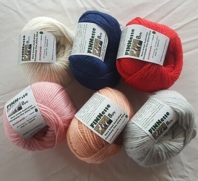 SUMMER SPECIAL 8PLY 50g/AU$7.99, not $10.95.  FINNESSE luxuriously soft rare Australian finnsheep yarns, in 6 colours Normally AU$10.95/50g