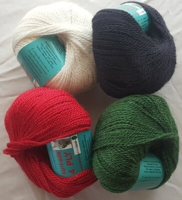 Special 4ply SURI SILK superb rare baby suri (alpaca), lustrous fine finnsheep, silk blend - ivory, ebony, deep coral red, emerald green in 50g balls. Normally AU$12.55 each