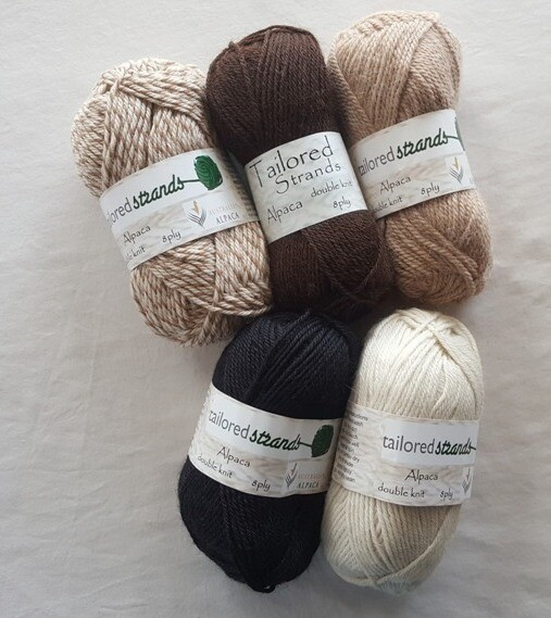 8ply Tailored Strands 100% Australian Alpaca naturals, 5 of 5 colors in 50g balls AU$11.95 each - honeycomb mix, mocha, sandstone, ivory; and ebony black.