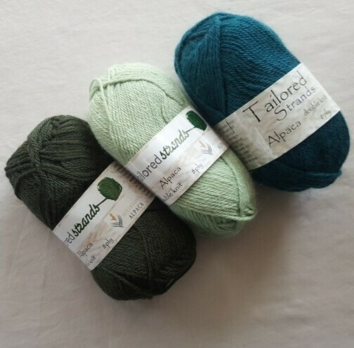8ply Tailored Strands 100% Australian Alpaca green colours in 50g balls AU$11.95 each - olive, lichen, teal